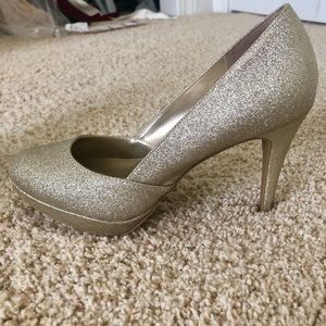 Silver pumps with small platform